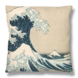 "The Great Wave of Kanagawa, from the Series ""36 Views of Mt. Fuji"" (""Fugaku Sanjuokkei"") Throw Pillow by Katsushika Hokusai"