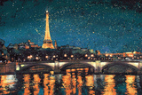 Paris Nights Blue I Affiches par James Wiens