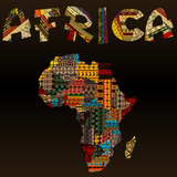 Africa Map with African Typography Made of Patchwork Fabric Text Plakater af  hibrida13