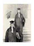 """Main Stair Case of the Palace of Justice (From the Series """"Les Gens De Justice"""") Giclee Print by Honoré Daumier"""
