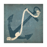 Nautical Anchor Blue Metal Print by Ryan Fowler