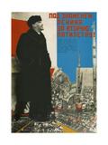 Under Lenin's Banner into the Second Five-Year Plan! Giclee-trykk av Sergei Yakovlevich Senkin