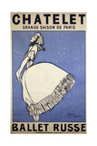 Ballet Dancer Tamara Karsavina. Poster for the Russian Ballet Season in Paris Stampa giclée di Jean Cocteau