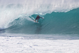 USA, Hawaii, Oahu, Surfers in Action at the Pipeline Fotografisk trykk av Terry Eggers