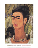 Self-Portrait with Monkey ポスター : フリーダ・カーロ
