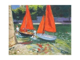 Girls with Sail Boats Looe, 2014 Giclee Print by Andrew Macara
