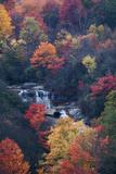 USA, New York, Adirondack Mountains. Autumn Trees and Waterfalls Fotoprint van Jaynes Gallery