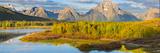 Wyoming, Grand Teton National Park. Panorama of Sunrise on Snake River Fotoprint van Jaynes Gallery