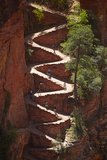 Utah, Zion National Park, Hikers on Walters Wiggles Zigzag Reproduction photographique par David Wall