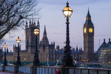 England, London, Victoria Embankment, Houses of Parliament and Big Ben Fotografisk trykk av Walter Bibikow