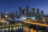 Australia, Victoria, Melbourne, Skyline with River and Bridge at Dusk Photographic Print by Walter Bibikow