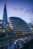 England, London, Shard Fand London City Hall Buildings, Dusk Photographic Print by Walter Bibikow