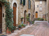 Europe, Italy, Tuscany, Pienza. Street Along the Town of Pienza Fotografisk tryk af Julie Eggers