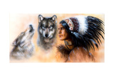 Animals Wolf and Portrait of American Indian in National Dress Arte por  JozefArt