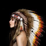 Beautiful Ethnic Lady with Roach on Her Head. Fotografisk trykk av  korabkova