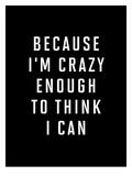 Because Im Crazy Enough to Think I Can BLK Láminas por Brett Wilson