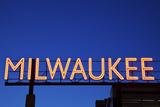 Red Milwaukee Sign Lámina fotográfica por  benkrut