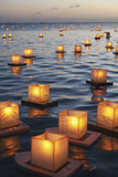 Annual Lantern Floating Ceremony During Sunset at Ala Moana; Oahu, Hawaii, United States of America 写真プリント :  Design Pics Inc