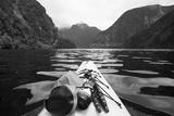 Supplies on the End of a Kayak Going Through a Fjord; Doubtful Sound South Island New Zealand Premium fototryk af  Design Pics Inc