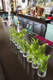 Glasses on the Bar with Ingredients for Mojitos at the Hotel Nacional in Havana Viejo Fotografisk tryk af Michael Lewis