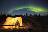 Trappers Tent Lit Up with Aurora Borealis at Wapusk National Park Stampa fotografica di  Design Pics Inc