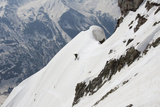 A Skiier Descends from the Summit of Pyramid Peak in Colorado Photographic Print by Pete McBride