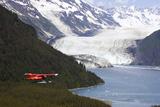 Dehavilland Beaver Floatplane Flying Towards Barry Glacier Harriman Fjord Chugach Nf and Mtns Pws Photographic Print by  Design Pics Inc