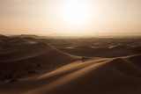 Sunset over the Sand Dunes of Morocco. Berber Camel Boy in the Sahara, Morocco Fotografie-Druck von Erika Skogg