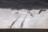 Concurrent Landspout Tornadoes Swirl Side-By-Side across Cropland Photographic Print by Jim Reed