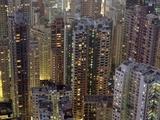 Looking Down on Crowded Residential Tower Blocks as Seen from the Peak at Dusk Fotografisk trykk av  Design Pics Inc