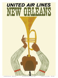 New Orleans - Jazz Trumpet Player - United Air Lines Prints