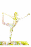 Nature Harmony Healthy Lifestyle Concept - Double Exposure Image of Woman Doing Yoga Asana Lord Of Photographic Print by  f9photos