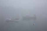 Lobster Boats and in Fog, New Harbor, Maine, USA Photographic Print by Lynn M. Stone
