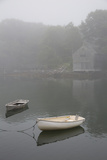 Dinghys and Boathouse in Fog, New Harbor, Maine, USA Photographic Print by Lynn M. Stone
