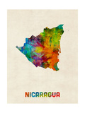 Nicaragua Watercolor Map Posters by Michael Tompsett