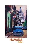 Poster Havana Cuba Street Scene Oldtimer Retro Art by Markus Bleichner