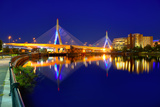 Boston Zakim Bridge Sunset in Bunker Hill Massachusetts USA Photographic Print by  holbox