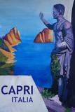 Capri view with Ancient Roman Empire Statue Poster Posters par Markus Bleichner