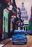 Cuban Oldtimer Street Scene in Havanna Cuba with B Affiche par Markus Bleichner