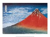 Red Fuji, South Wind, Clear Sky ポスター : 葛飾・北斎