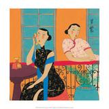 Chinese Folk Art - Girls Talking on the Phone Póster