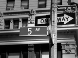 Fifth Avenue Sign 5 Th Av New York Manhattan USA Black & White Photographic Print by  holbox