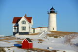 Cape Neddick Lighthouse, Old York Village, Maine Fotografisk trykk av  jiawangkun