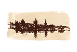 Panorama of Prague. View of Charles Bridge and the Vltava River Embankment. Vector Drawing Posters by  -Vladimir-