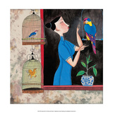 Chinese Folk Art - Girl with Birdcages in the Window Láminas