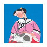 Chinese Folk Art - Girl Stroking Cat on her Lap Print