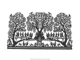 Folk Art Silhouette of Music in the Trees Posters