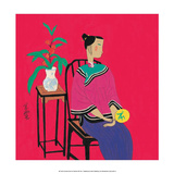 Chinese Folk Art - Girl Sitting with Fan Láminas