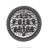 Folk Art Silhouette of Circle of Owls Print
