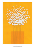 Nine Stemmed Flowers in Orange Vase Prints by Takashi Sakai